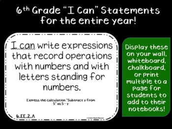 "6th Grade ""I Can"" Statements - Ohio (half-sheets)"