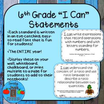 I Can Statements - 6th Grade - Ohio's Learning Standards: Mathematics