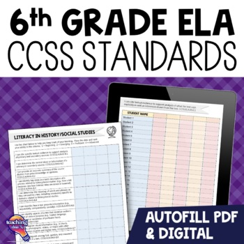 "6th Grade ""I Can"" Student Checklists for CCSS ELA Common Core Standards"