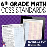 """6th Grade """"I Can"""" Student Checklists for CCSS MATH Common Core Standards"""
