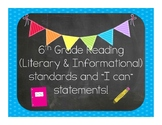 """6th Grade """"I Can"""" statements"""
