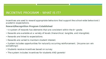 6th Grade Incentive Program PPT