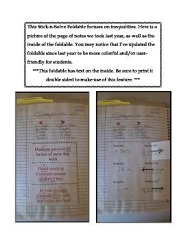 6th Grade Inequalities Lesson: FOLDABLE & Homework