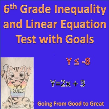 6th Grade Inequality and Linear Equation Math Test with Goals