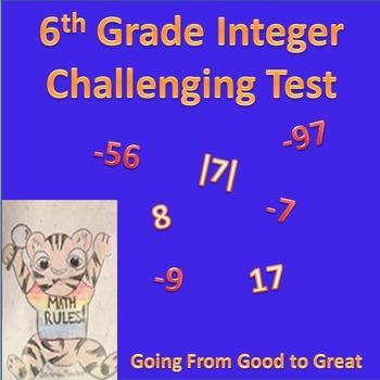 6th Grade Integer Challenging Test