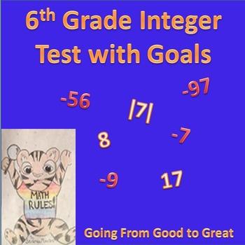 6th Grade Integer Math Test with Goals