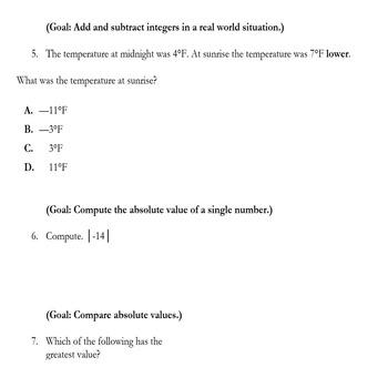 6th Grade Integer Study Guide