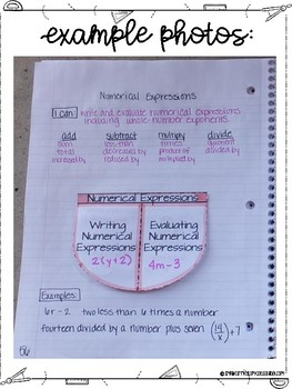 Sixth Grade Math Expressions Interactive Notebook Unit