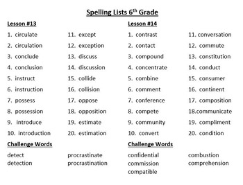 6th Grade Journeys Spelling Lists and Word Searches (Bundle)
