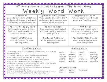 6th Grade Journeys 2012 Spelling Vocabulary ELA Activities Yearlong Bundle