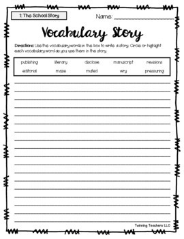 6th Grade Journeys Vocabulary - Writing Activity LESSONS 1-30