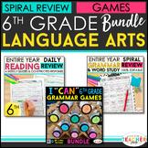 6th Grade Language Arts BUNDLE | Spiral Review, Games & Qu