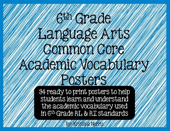 6th Grade Language Arts Common Core Academic Vocabulary Posters