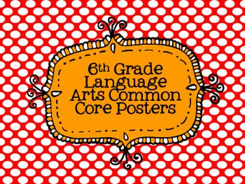 6th Grade Language Arts Common Core Posters