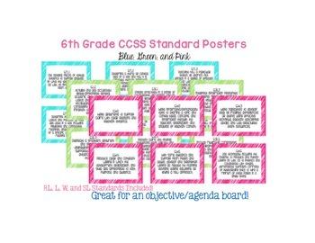 6th Grade Language Arts Common Core Posters (3 Colors)