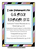 6th Grade Language Arts I Can Statements (Texas Standards, TEKS)