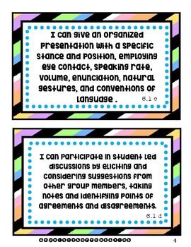 6th Grade Language Arts I Can Statements (Texas Standards, TEKS)