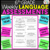 6th Grade Language Assessments | 6th Grade Grammar Quizzes EDITABLE