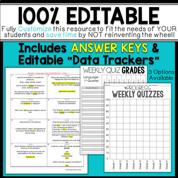6th Grade Language Assessments   Weekly Spiral Assessments for ENTIRE YEAR
