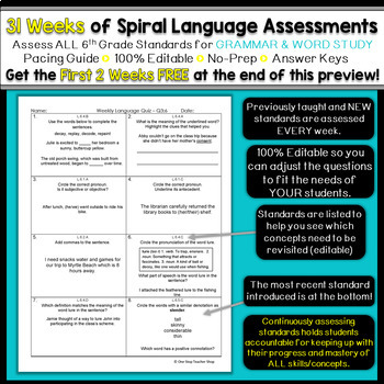 6th Grade Language Assessments | Weekly Spiral Assessments ...