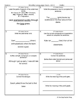 6th Grade Language Assessments | 6th Grade Grammar Quizzes