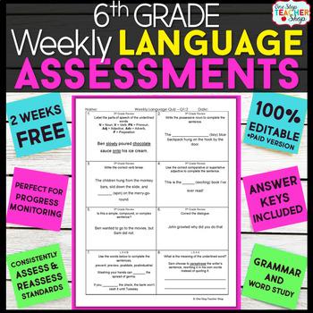 6th Grade Language Assessments | 2 Weeks FREE