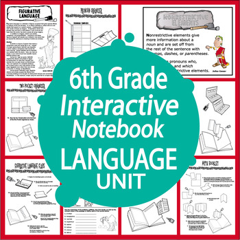 6th Grade Language Interactive Notebook Unit + Full Color