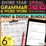 6th Grade Language Spiral Review & Quizzes   DIGITAL & PRI