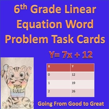 6th Grade Linear Equation Word Problem Task Cards