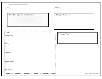 6th Grade Literature Graphic Organizer