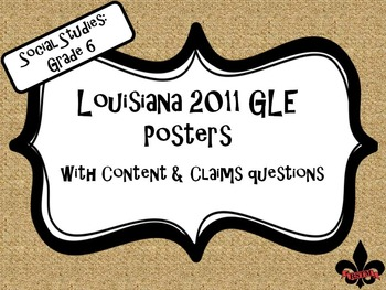 6th Grade Louisiana GLE Posters for Social Studies Burlap
