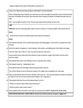 6th Grade Lucy Calkins Research Information Writing Unit Bend 1 'Cheat Sheets'