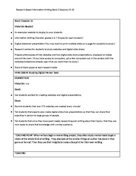 6th Grade Lucy Calkins Research Information Writing Unit Bend 3 'Cheat Sheets'