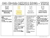 6th Grade M.E.N.U. Math with TEKS!
