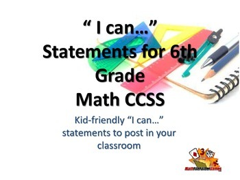 """6th Grade MATH CCSS """"I Can"""" Statements {Editable PowerPoint Included}"""