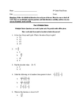 6th Grade MATH FINAL EXAM