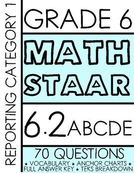 6th Grade MATH STAAR PREP *7 TEKS ALIGNED ASSESSMENTS* 6.2D, 6.2ABCE