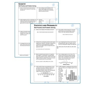 6th Grade MID WINTER February MATH PACKET { COMMON CORE Assessment}