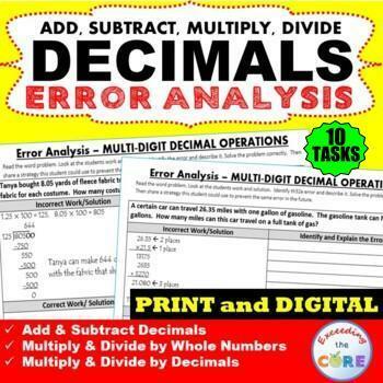 DECIMAL OPERATIONS Word Problems - Error Analysis  (Find the Error)