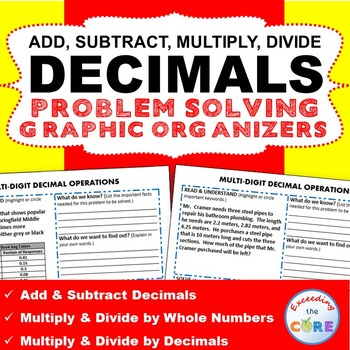 DECIMAL OPERATIONS Word Problems with Graphic Organizer