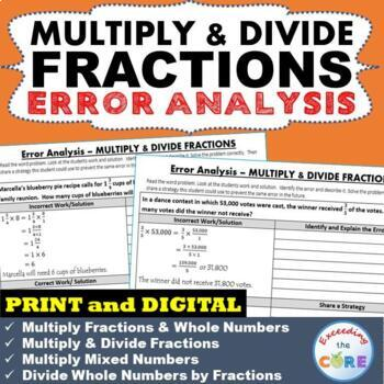 MULTIPLY & DIVIDE FRACTIONS Word Problems - Error Analysis  (Find the Error)