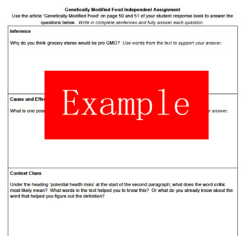 6th Grade Making Meaning: Unit 7 GMO Article Assignment
