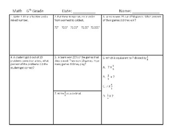 6th Grade Math 1-10 Warmups - STAAR Review