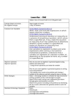 6th Grade Math-5 day Unit