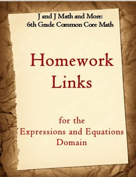 6th Grade Math: 6.EE.1-9: Internet Links to Expressions and Equations Homework