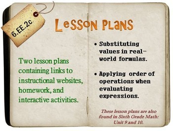 6th Grade Math:  6.EE.2c:  Two Lesson Plans