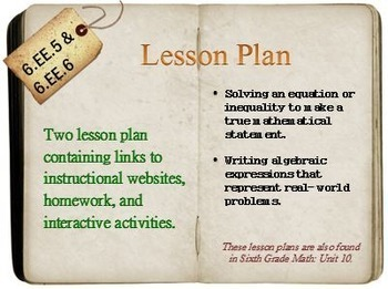 6th Grade Math:  6.EE.5 & 6.EE.6:  Two Lesson Plans