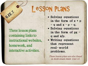 6th Grade Math:  6.EE.7:  Three Lesson Plans