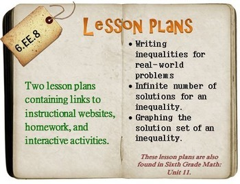 6th Grade Math:  6.EE.8:  Two Lesson Plans
