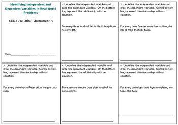 6th Grade Math:  6.EE.9 Mini-Assessments